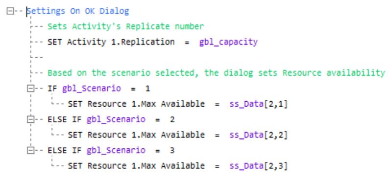 Simul8 Dialogs Example Visual Logic