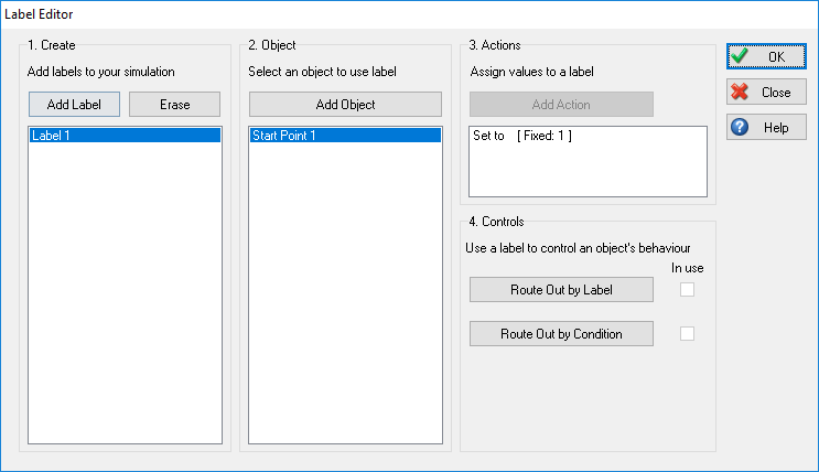 Label Editor Adding an Action