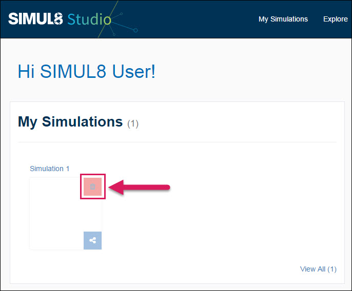 Deleting a Simulation - Simul8 Studio