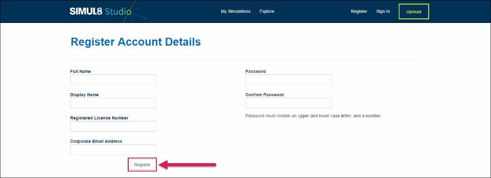 Register Account - Simul8 Studio