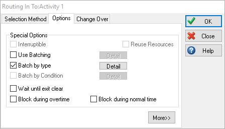 Routing In Use Batch By Type Option Dialog Example