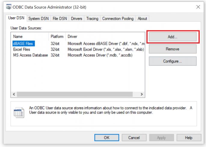 Add User Data Source in ODBC Administrator