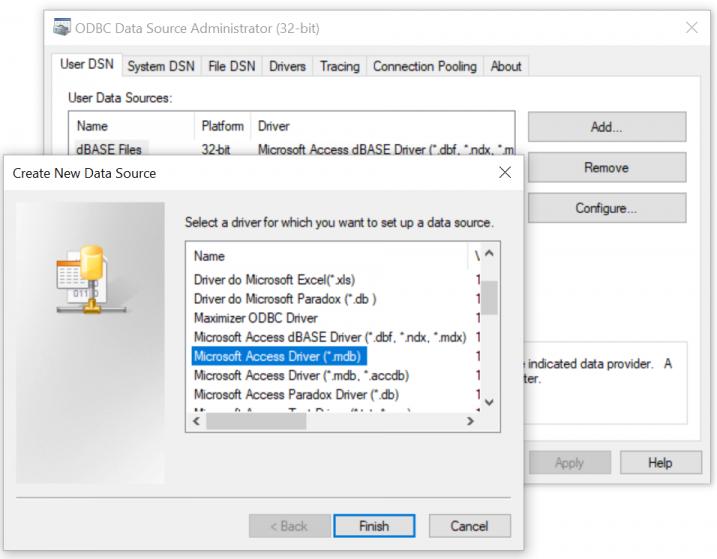 Choose database type
