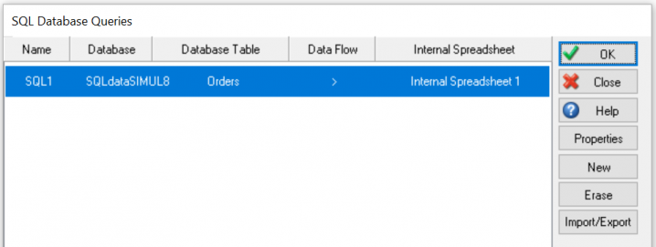 Existing connection in SQL database menu