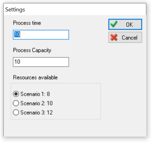 Simul8 Dialogs Example display