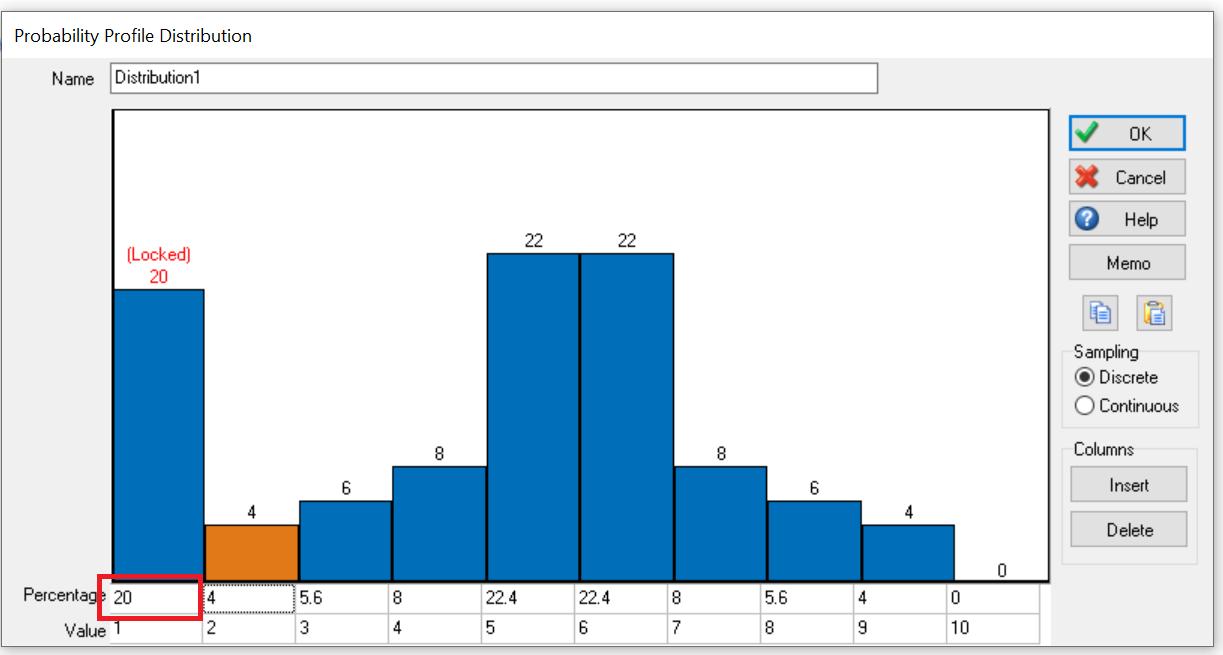 Simul8 Prob profile set percent