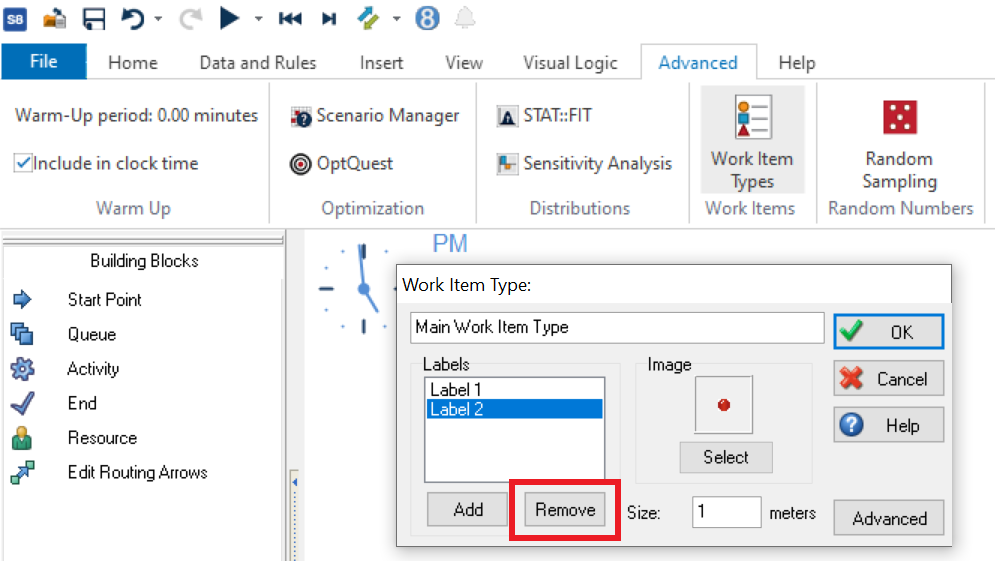 Simul8 Remove Label from Main Work Item Type