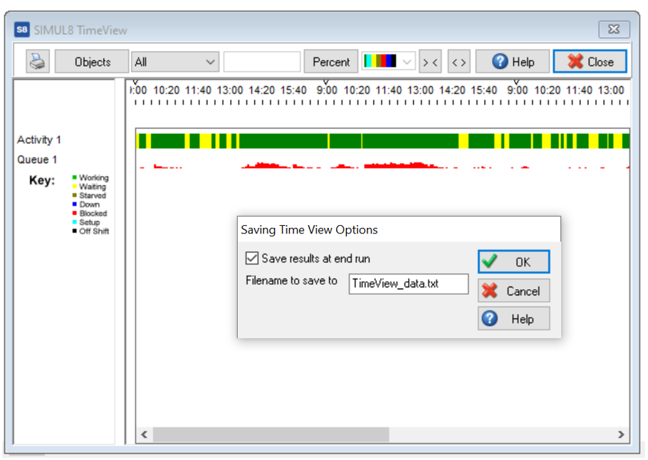 Simul8 Timeview Save Results on End Run