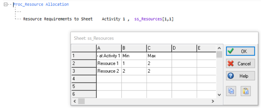Simul8 Resource Requirements to Sheet