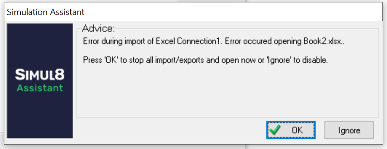Simul8 error during excel connection