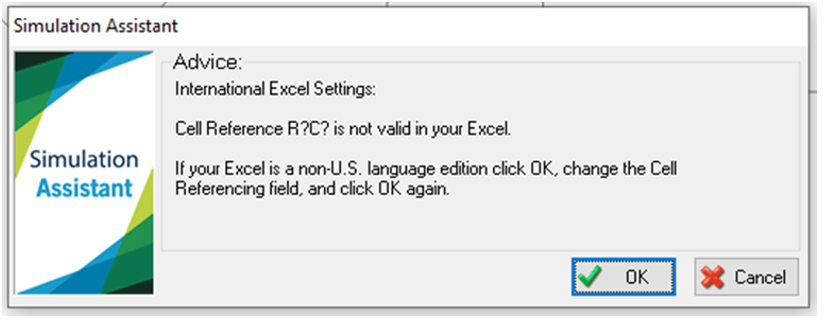 Simul8 International Excel Settings